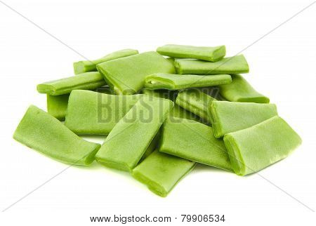 Chopped green beans on white background.