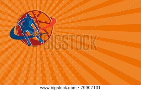 Business Card Basketball Player Dribbling Ball Woodcut Retro