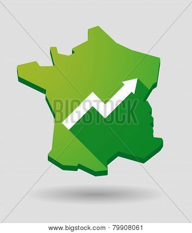 France Map Icon With A Graph