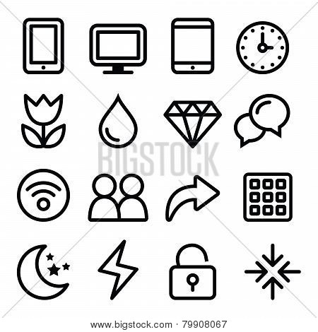 Web menu navigation line icons set - electronic devices