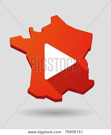 France Map Icon With A Play Sign