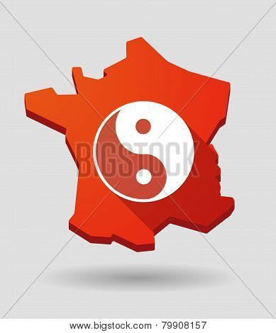 France Map Icon With A Ying Yang Sign