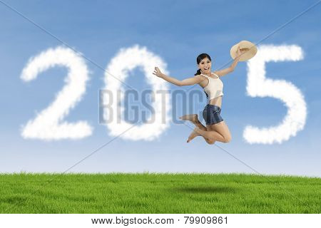 Woman Celebrate New Year On Meadow