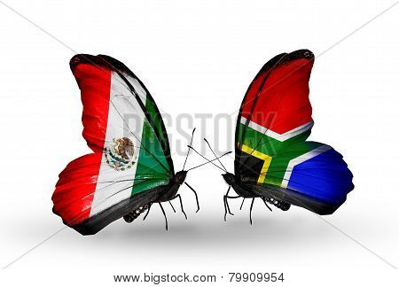 Two Butterflies With Flags On Wings As Symbol Of Relations Mexico And South Africa