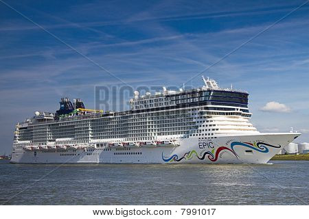 New Cruise Ship Leaving Rotterdam, June 21-2010