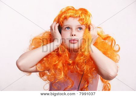 Redhead Girl Listen To Music