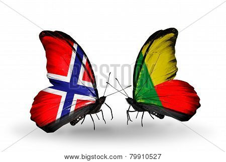 Two Butterflies With Flags On Wings As Symbol Of Relations Norway And Benin