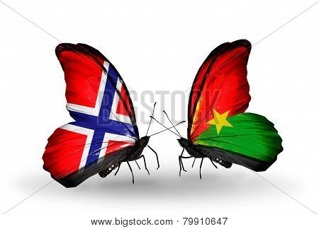 Two Butterflies With Flags On Wings As Symbol Of Relations Norway And Burkina Faso