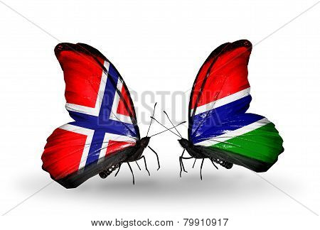 Two Butterflies With Flags On Wings As Symbol Of Relations Norway And Gambia