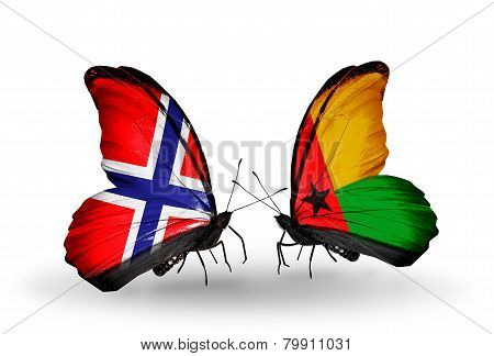 Two Butterflies With Flags On Wings As Symbol Of Relations Norway And Guinea Bissau