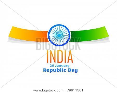 vector Indian republic day design celebrated on 26 January isolated in white background