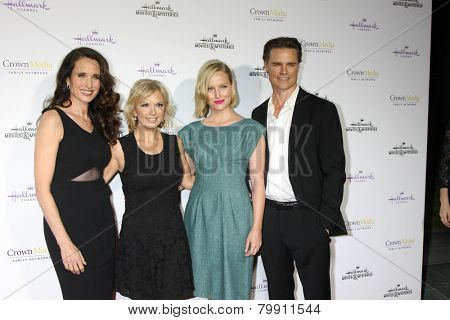 LOS ANGELES - JAN 8:  Andie MacDowell, Teryl Rothery, Sarah Smyth, Dylan Neal at the Hallmark TCA Party at a Tournament House on January 8, 2014 in Pasadena, CA