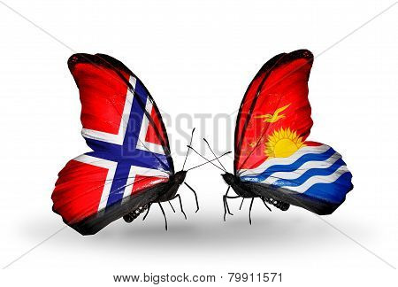 Two Butterflies With Flags On Wings As Symbol Of Relations Norway And  Kiribati
