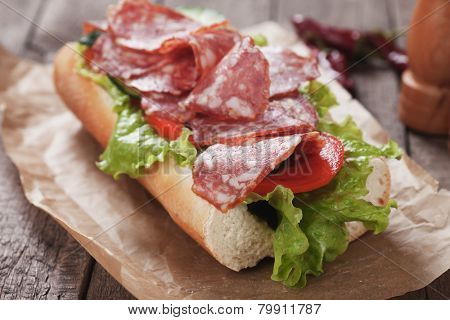 Submarine sandwich with italian sausage, tomato and lettuce salad