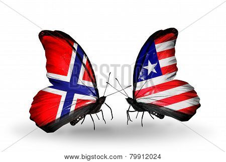 Two Butterflies With Flags On Wings As Symbol Of Relations Norway And Liberia