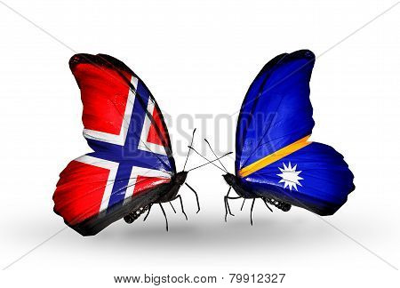 Two Butterflies With Flags On Wings As Symbol Of Relations Norway And Nauru