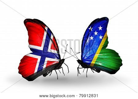 Two Butterflies With Flags On Wings As Symbol Of Relations Norway And Solomon Islands