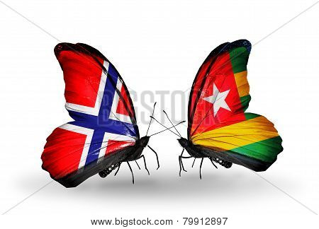 Two Butterflies With Flags On Wings As Symbol Of Relations Norway And Togo