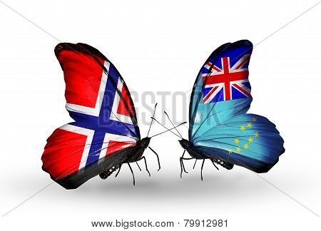 Two Butterflies With Flags On Wings As Symbol Of Relations Norway And Tuvalu