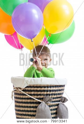 child boy on hot air balloon isolated