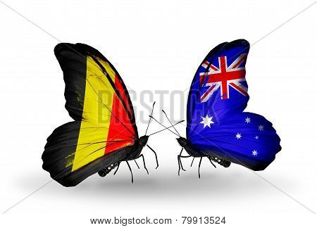 Two Butterflies With Flags On Wings As Symbol Of Relations Belgium And Australia