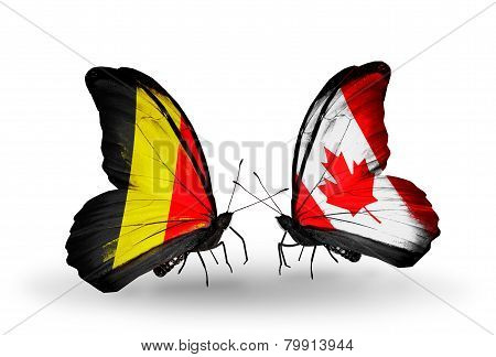 Two Butterflies With Flags On Wings As Symbol Of Relations Belgium And  Canada