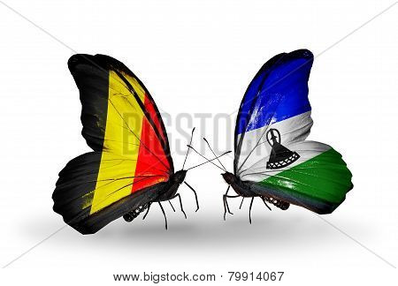 Two Butterflies With Flags On Wings As Symbol Of Relations Belgium And Lesotho