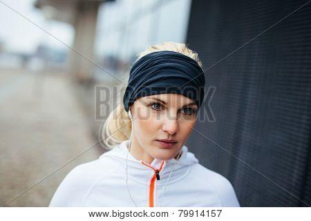 Female Runner Looking Focused