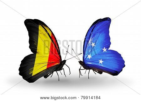 Two Butterflies With Flags On Wings As Symbol Of Relations Belgium And Micronesia