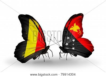 Two Butterflies With Flags On Wings As Symbol Of Relations Belgium And Papua New Guinea