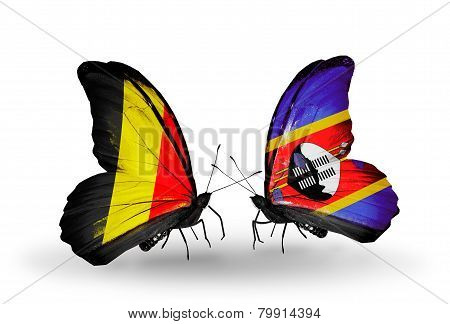 Two Butterflies With Flags On Wings As Symbol Of Relations Belgium And  Swaziland