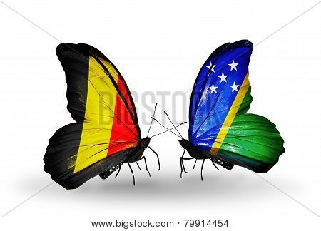 Two Butterflies With Flags On Wings As Symbol Of Relations Belgium And Solomon Islands