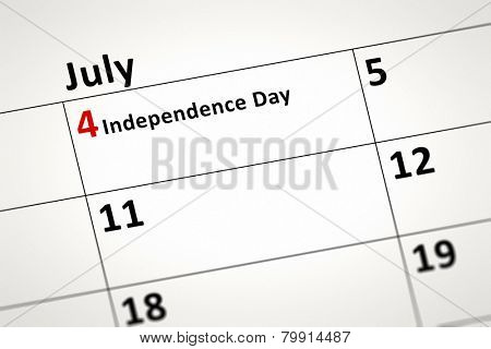 An image of a calendar detail shows July the fourth Independence Day