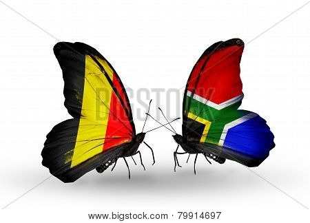 Two Butterflies With Flags On Wings As Symbol Of Relations Belgium And South Africa