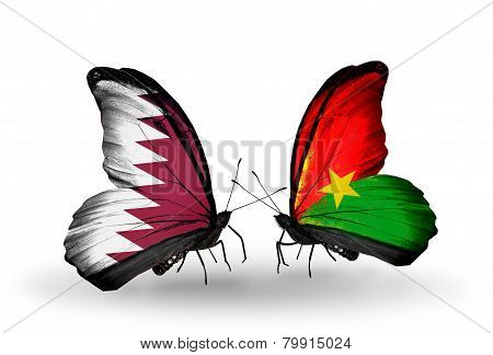 Two Butterflies With Flags On Wings As Symbol Of Relations Qatar And Burkina Faso