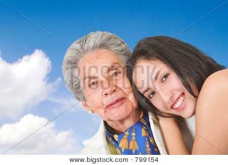 happy grand mother with her grand daughter
