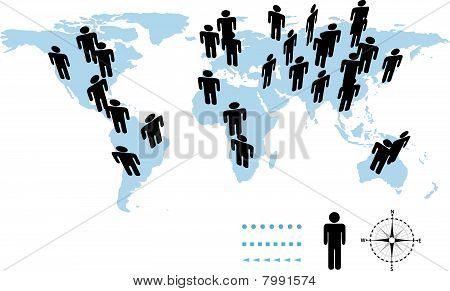 World Population Earth Symbol People On Map.eps