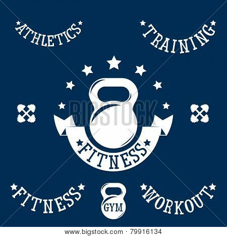 Kettlebell Vintage Emblem And Baners Set