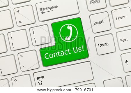 White Conceptual Keyboard - Contact Us (green Key With Handset)