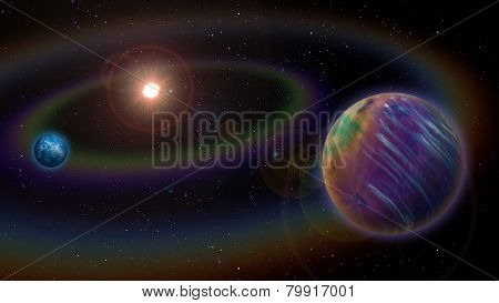 Extraterrestrial Alien Two Planet System