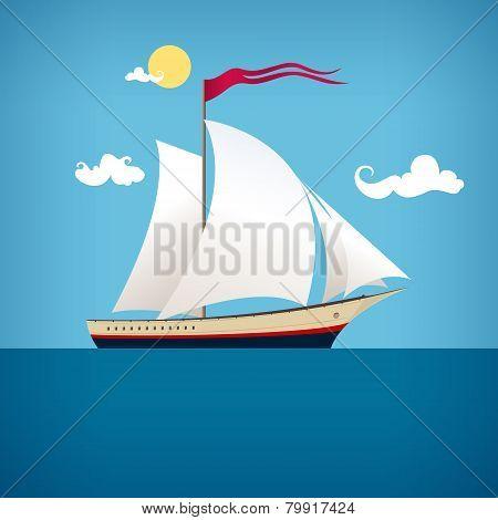 Sailing Vessel In The  Blue Ocean, Vector Illustration