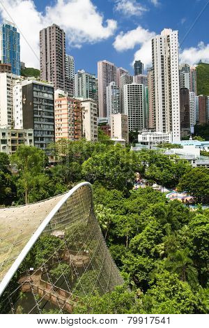 Aerial view over hong kong park