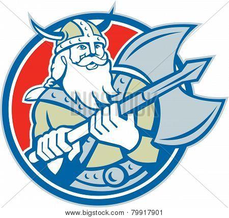 Viking Raider Barbarian Warrior Axe Circle Retro