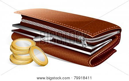 Open wallet and coins. Vector illustration.