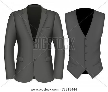 Formal Business Suits for Men (jacket and waistcoat). vector illustration.