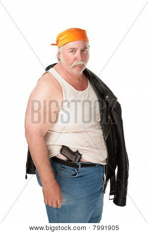 Fat Hoodlum With Pistol And Orange Bandana