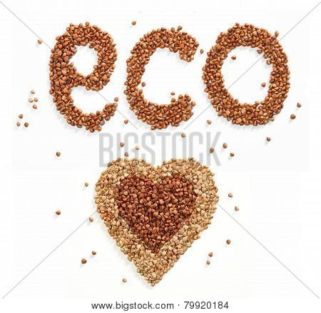 Word Eco and Heart symbol