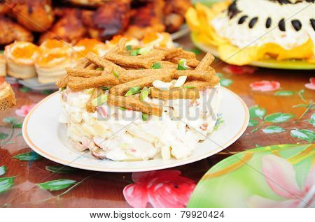 Russian Festive Dish With Mayonnaise And Crackers