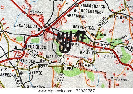 Illustrative editorial.Estern Ukraine map with site MH-17 flight crush. At January 10,2015 in Kiev, Ukraine