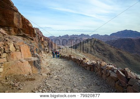 Tourists Descend On The Long Trail To Mount Moses, Egypt